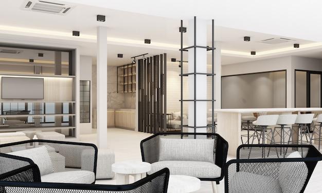 Áreas de trabalho e de descanso com estante e mesa de conferência em acabamento branco de escritório moderno