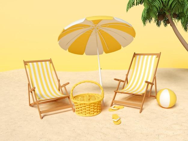 Areia com cadeira e guarda-sol e elementos de verão. conceito de férias de verão.