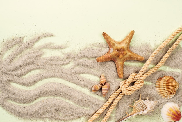 Areia com corda náutica