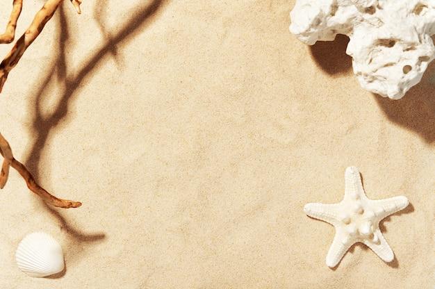 Areia da praia dourada com conchas, estrelas do mar e pedras do mar. decorações de verão.