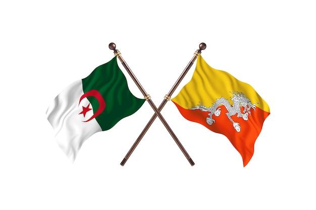Argélia contra duas bandeiras do butão