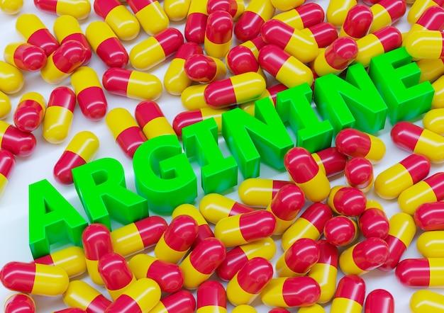 Arginina, suplemento dietético em cápsulas isoladas na superfície branca.
