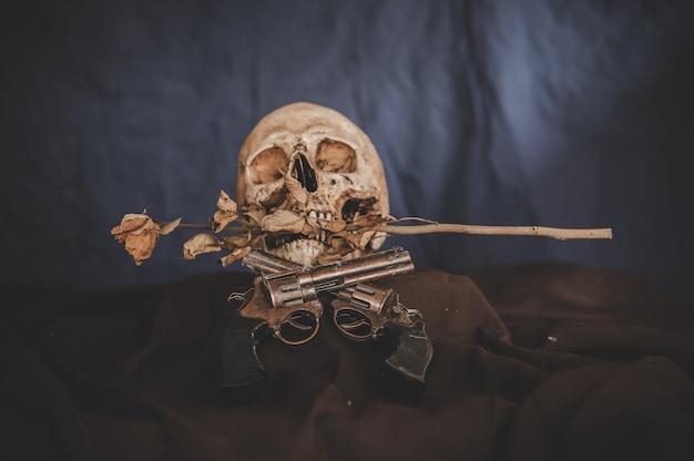 Arma cruzada e uma caveira na boca com flores secas