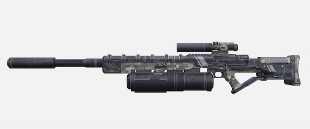 Arma de laser militar de ficção científica.