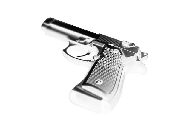 Arma isolada no fundo branco. legalização de armas. problemas criminais.