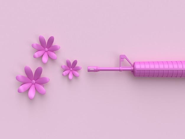 Arma rosa atirando flores