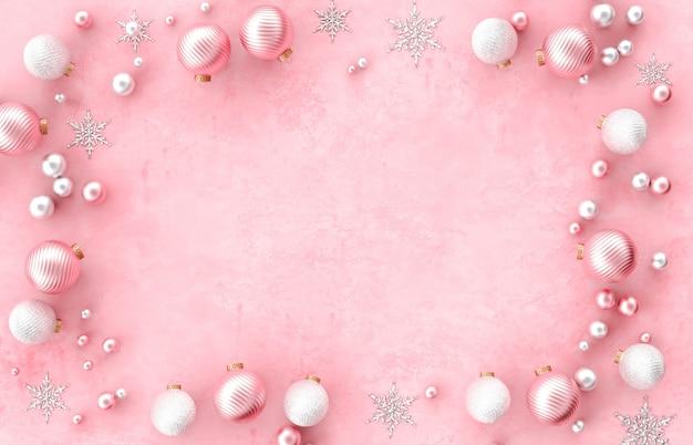 Armação de borda de decoração 3d de natal com bola de natal, floco de neve em fundo rosa. natal, inverno, ano novo. vista plana leiga, superior, copyspace.