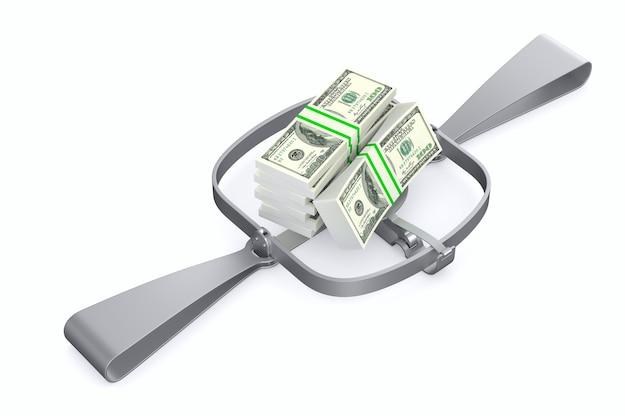 Armadilha para urso e dinheiro na parede branca. 3d isolado