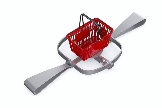 Armadilha para ursos e cesta de compras vermelha na parede branca. 3d isolado