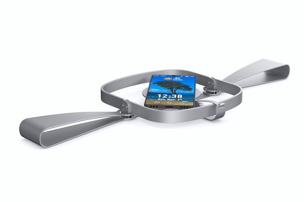 Armadilha para ursos e telefone isolados na ilustração 3d branca Foto Premium