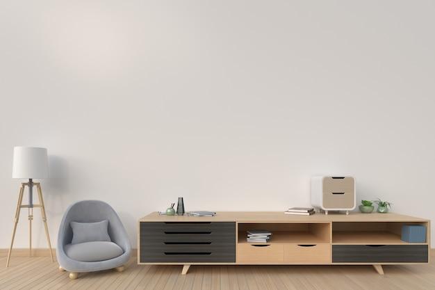 Armário com sofá e lâmpada na cor escura do fundo, rendição 3d