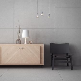 Armário da sala de estar e parede de concreto / interior de renderização 3d