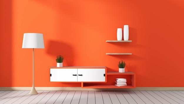 Armário da tevê na sala moderna vermelha, projetos mínimos, estilo do zen. renderização em 3d