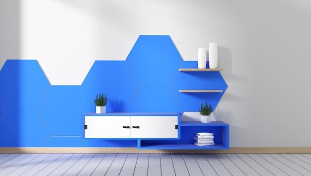 Armário da tevê na telha azul do hexágono da sala projetos mínimos, estilo do zen. renderização em 3d
