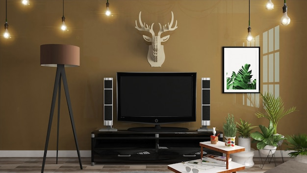 Armário da tevê no estilo japonês moderno da sala vazia, projetos mínimos. renderização 3d