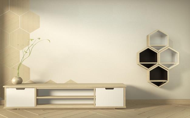 Armário da tevê no quarto vazio moderno - estilo zen japonês, projetos mínimos. renderização em 3d