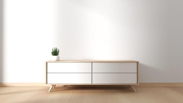 Armário da tevê no quarto vazio moderno japonês - estilo do zen, projetos mínimos. renderização 3d