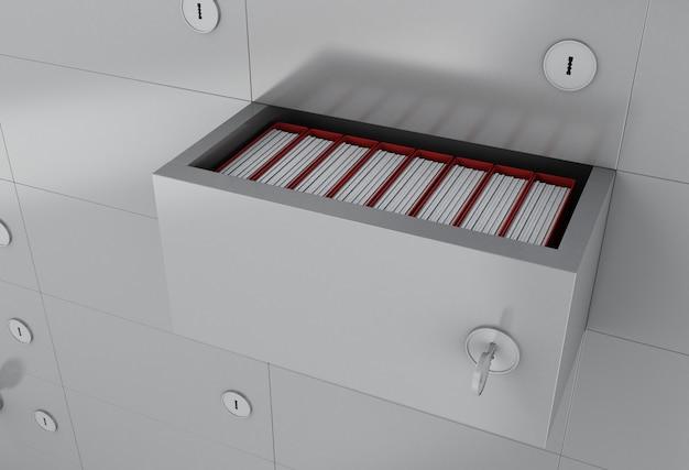 Armário de arquivo aberto 3d com pastas