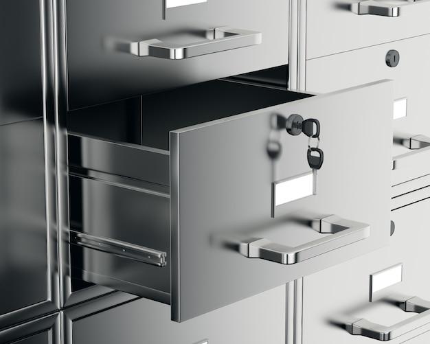 Armário de arquivo com gaveta aberta