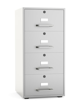 Armário de arquivo isolado no fundo branco