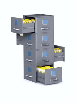 Armário de arquivo. isolado, renderização 3d