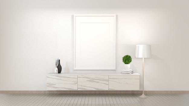 Armário de granito no quarto vazio zen moderno, desenhos mínimos. renderização em 3d