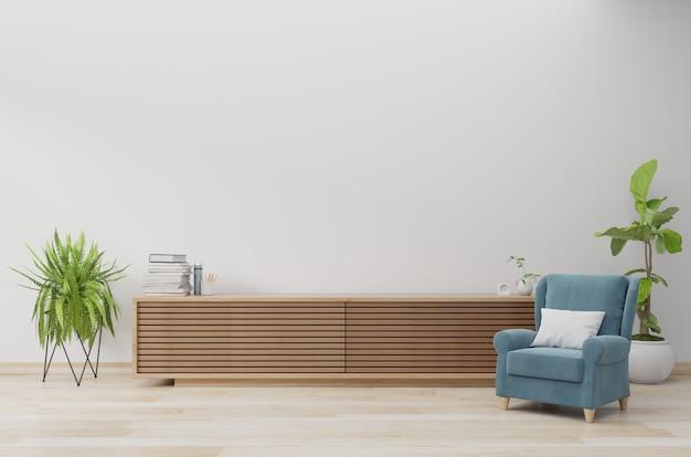Armário de madeira com poltrona azul na parede branca e piso de madeira, renderização em 3d