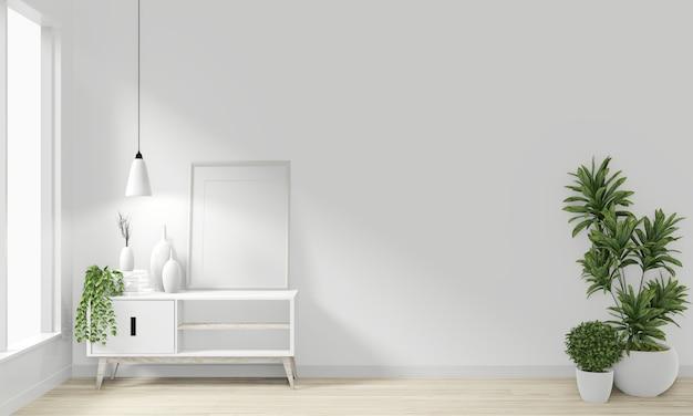 Armário de madeira design japonês minimalista no quarto moderno zen design. renderização 3d
