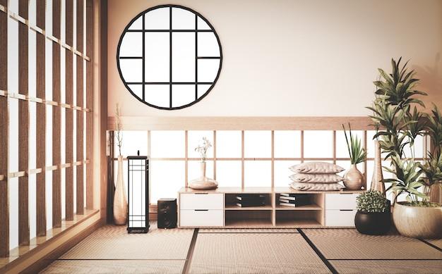 Armário de madeira em uma sala antiquada rara, que reflete a atmosfera. renderização 3d