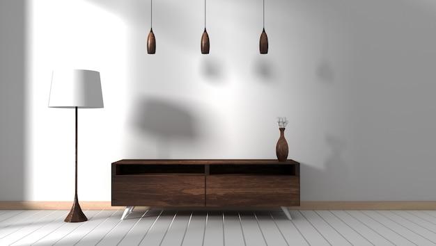 Armário de madeira escura no quarto vazio moderno, projetos mínimos, renderização em 3d