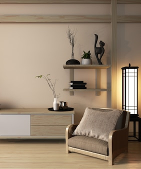 Armário de madeira estilo japão no quarto ryokan e decoração estilo japonês design minimalista, renderização em 3d