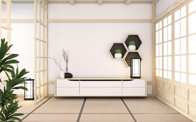 Armário de madeira mínimo no estilo japonês de sala. renderização em 3d