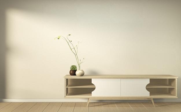 Armário de madeira no japonês vazio moderno da sala - estilo do zen, projetos mínimos. renderização em 3d