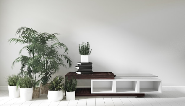 Armário de madeira no quarto estilo japonês. renderização 3d