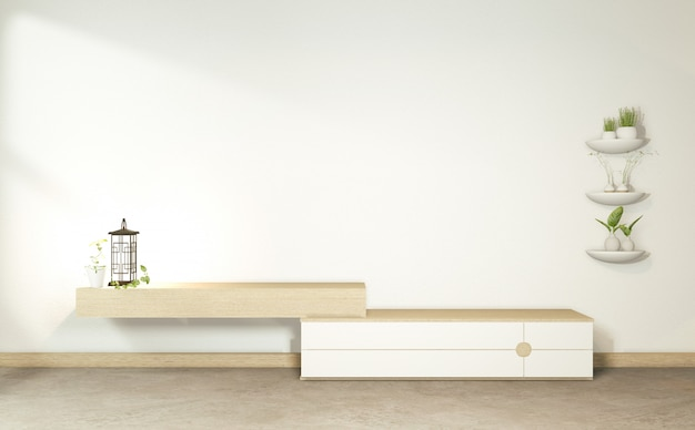 Armário de madeira no quarto vazio tropical japonês. renderização em 3d