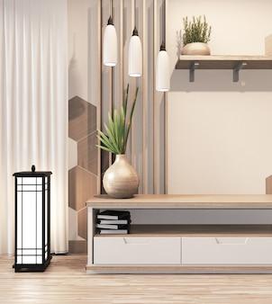 Armário de madeira tv com telhas hexagonais de madeira na parede estilo japonês