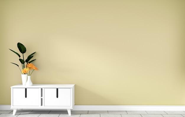Armário de mesa na moderna sala vazia amarela, desenhos minimalistas, renderização em 3d