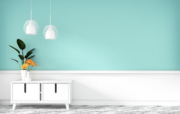 Armário de mesa na sala vazia de hortelã moderna, desenhos minimalistas, renderização em 3d