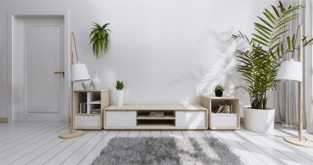 Armário de prateleira de tv na moderna sala vazia e parede branca