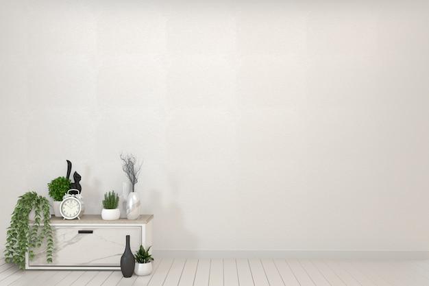 Armário de prateleira de tv na moderna sala vazia. renderização em 3d