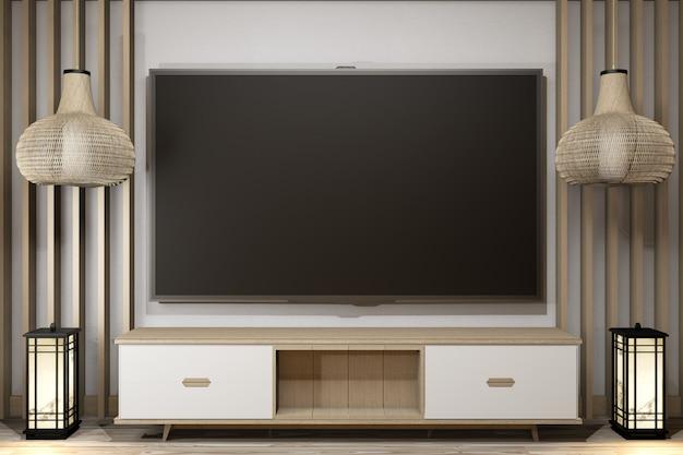 Armário de tv de madeira em estilo moderno de sala zen, com designs minimalistas. renderização em 3d