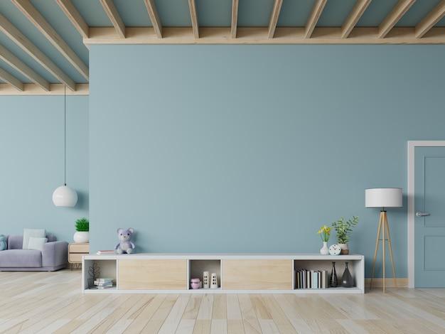 Armário de tv e sofá na moderna sala de estar com planta em fundo de parede branca, renderização em 3d