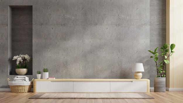 Armário de tv em sala de estar moderna com decoração em parede de concreto, renderização em 3d