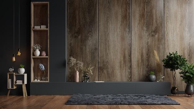 Armário de tv em sala de estar moderna com decoração em parede de madeira, renderização em 3d