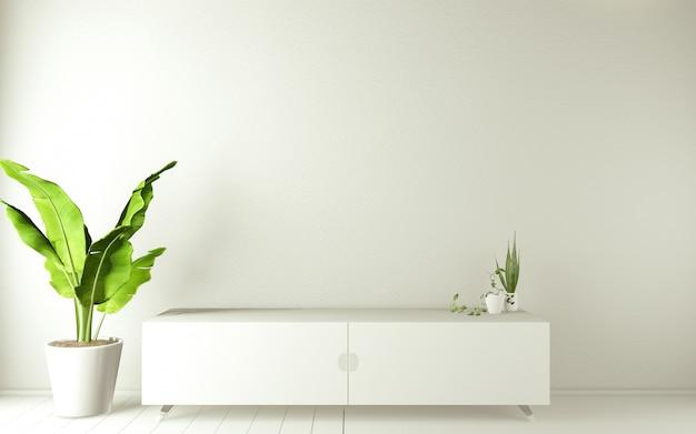 Armário de tv em um quarto vazio moderno japonês - estilo zen, designs mínimos. renderização 3d