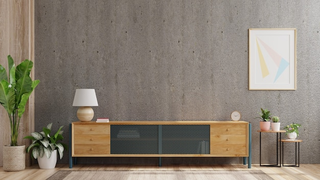 Armário de tv em uma sala de estar moderna com decoração em parede de concreto, renderização em 3d