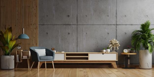 Armário de tv em uma sala de estar moderna com poltrona, abajur, mesa, flores e plantas na parede de concreto, renderização em 3d
