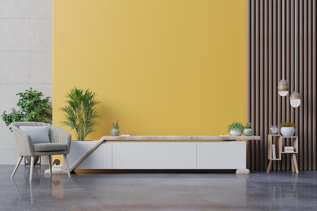 Armário de tv em uma sala de estar moderna com poltrona, abajur, mesa, flores e plantas no fundo da parede amarela, renderização em 3d