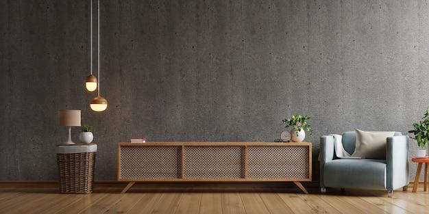 Armário de tv em uma sala de estar moderna com poltrona, abajur, mesa, flores e plantas no fundo da parede de concreto, renderização em 3d