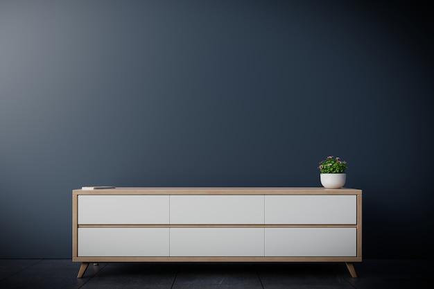 Armário de tv em uma sala vazia moderna, parede escura, renderização em 3d